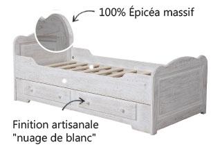 Lit gigogne à tiroirs blanc